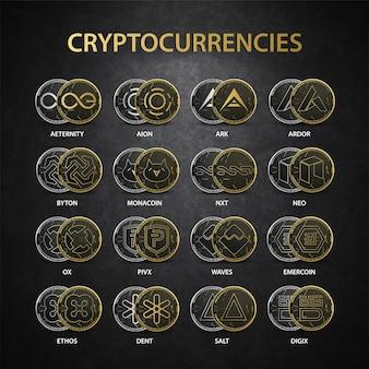 Colección de criptomonedas oro set