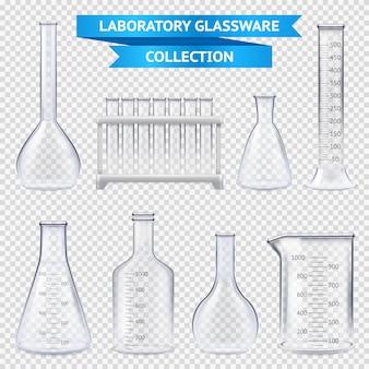 Colección de cristalería de laboratorio realista