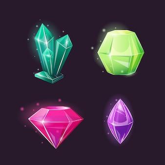 Colección de cristales de varias formas.