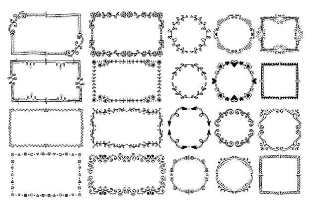 Colección de cuadros de doodle de grabado