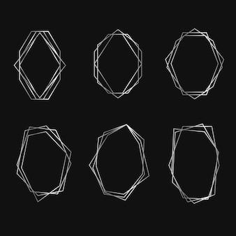 Colección de cuadros geométricos plateados