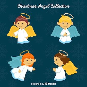 Colección de cuatro ángeles de navidad