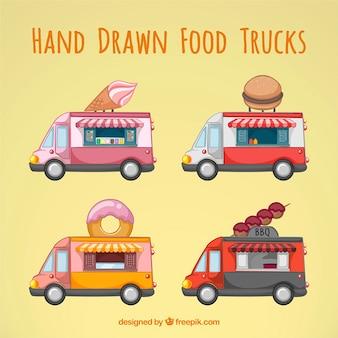 Colección de cuatro camionetas retro de comida