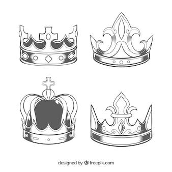 Colección de cuatro coronas realistas