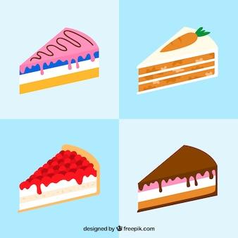 Colección de cuatro diferentes tartas