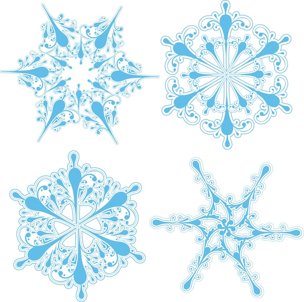 Colección de cuatro diseños detallados de copos de nieve.