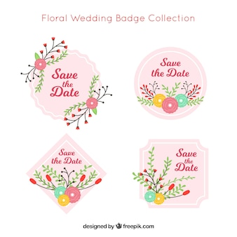 Colección de cuatro etiquetas de boda