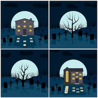 Colección de cuatro ilustraciones vectoriales para halloween