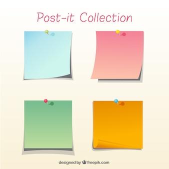 Colección de cuatro notas adhesivas