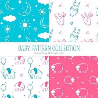 Colección de cuatro patrones de bebé