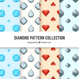 Colección de cuatro patrones con diamantes planos