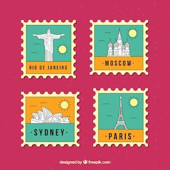 Colección de cuatro sellos de ciudad