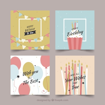 Colección de cuatro tarjetas de cumpleaños coloridas