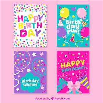 Colección de cuatro tarjetas de cumpleaños