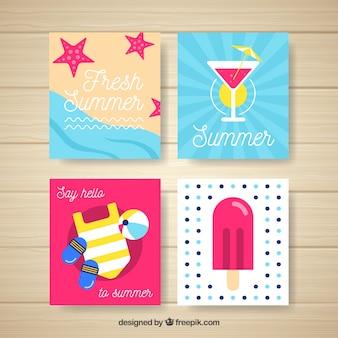 Colección de cuatro tarjetas de verano