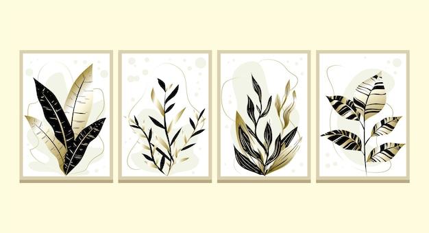 Colección de cubiertas botánicas de oro