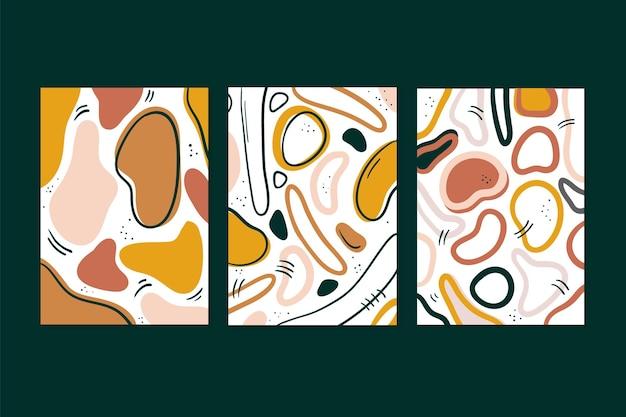 Colección de cubiertas de formas abstractas dibujadas a mano