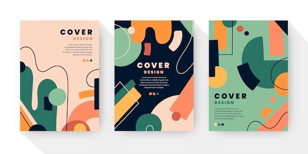 Colección de cubiertas de formas abstractas planas dibujadas a mano