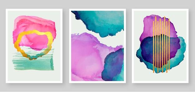 Colección de cubiertas de manchas de acuarela abstracta