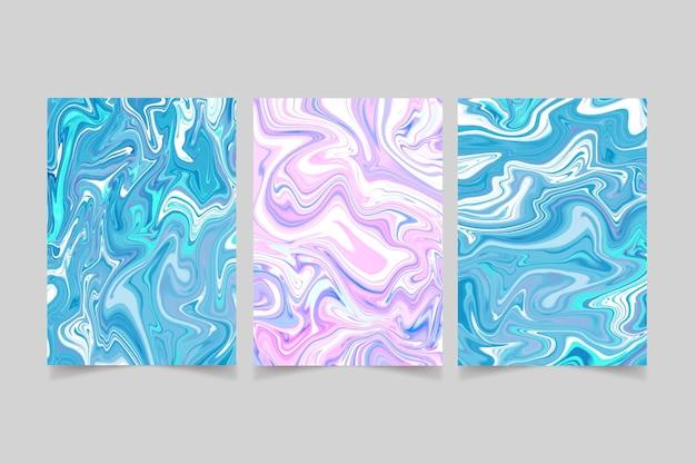 Colección de cubiertas de mármol líquido pintadas a mano.