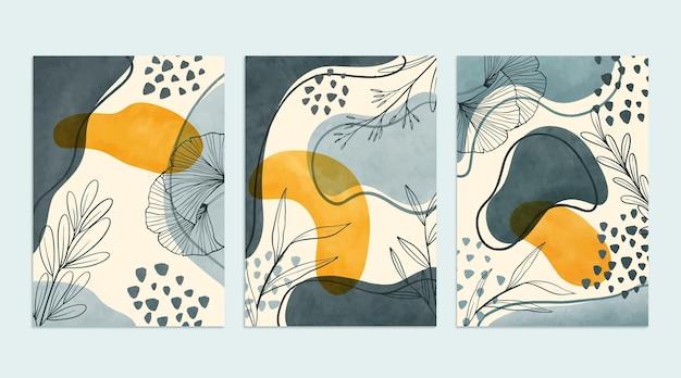 Colección de cubiertas minimalistas en acuarela pintadas a mano.