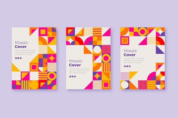 Colección de cubiertas de mosaicos planos