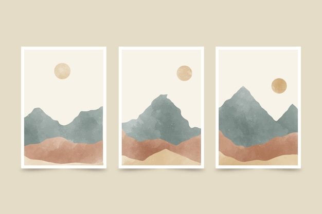 Colección de cubiertas de paisaje abstracto acuarela pintada a mano