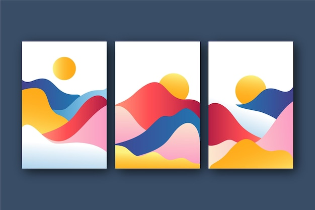 Colección de cubiertas de paisaje abstracto degradado