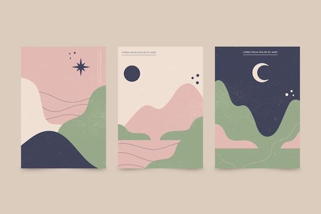 Colección de cubiertas de paisajes abstractos dibujados a mano