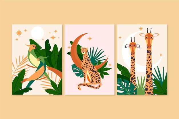 Colección de cubiertas planas de animales salvajes