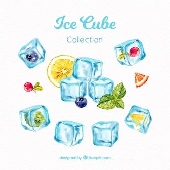 Colección de cubitos de hielo en acuarela