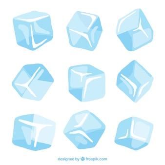 Colección de cubitos de hielo dibujados a mano