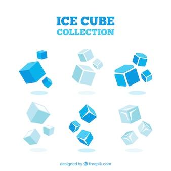 Colección de cubitos de hielo con diseño en 2d
