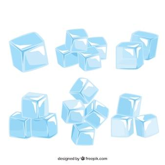 Colección de cubitos de hielo con diseño plano