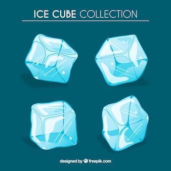 Colección de cubitos de hielo con estilo de dibujo a mano