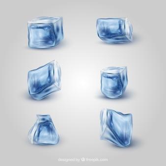 Colección de cubitos de hielo realistas
