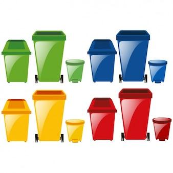 Colección de cubos de basura a color