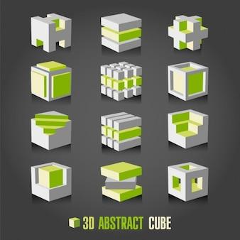 Colección de cubos blancos y verdes