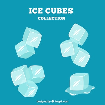 Colección de cubos de hielo en estilo hecho a mano