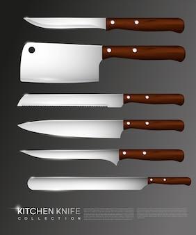 Colección de cuchillos realistas