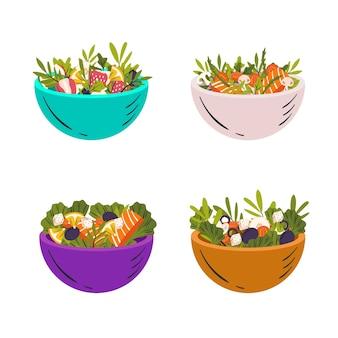 Colección de cuencos con fruta y ensalada.