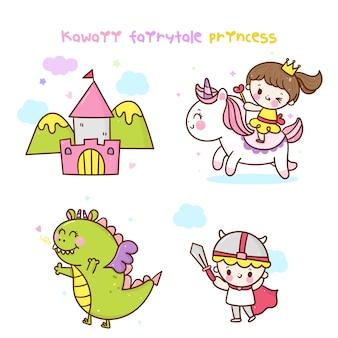 Colección de cuento de hadas kawaii unicornio princesa dragón castillo dibujos animados