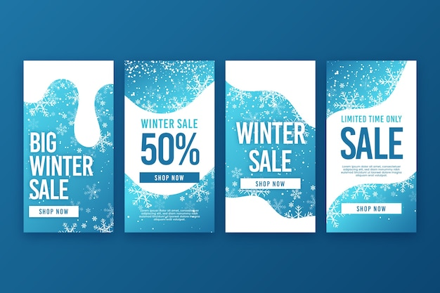 Colección de cuentos de instagram de rebajas de invierno