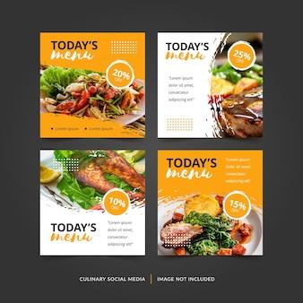 Colección culinaria de fondo cuadrado de publicaciones de instagram de redes sociales