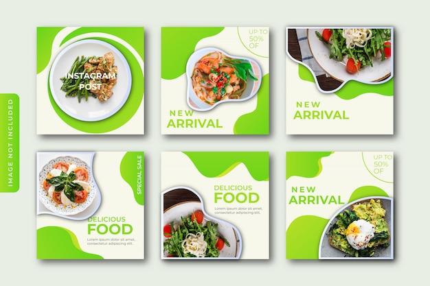 Colección culinaria de plantillas de publicaciones de instagram