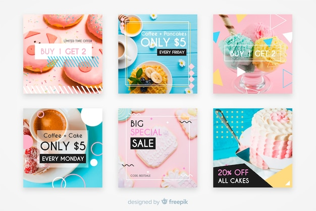 Colección culinaria de publicaciones de instagram con foto