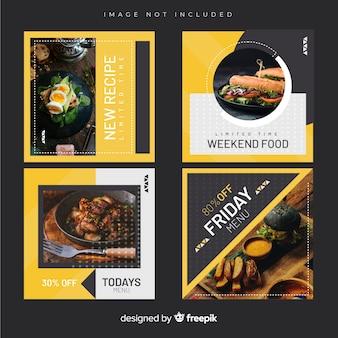 Colección culinaria de publicaciones de instagram con imagen