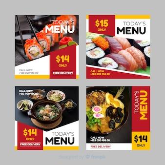 Colección culinaria de publicaciones de instagram