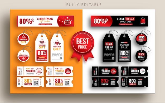 Colección de cupones y diseño de etiquetas para venta de viernes negro y navidad