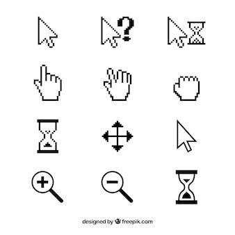 Colección de cursors blancos y negros